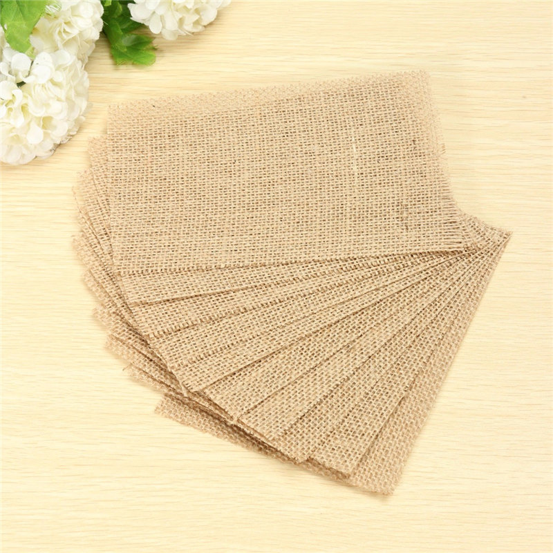 New Arrived 10Pcs Natural Vintage Place Mats Rustic Brown Rectangle Burlap Fabric Coasters Pad Dining Table Cup Mat Home Decor(China (Mainland))
