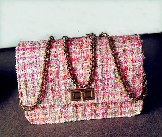 Бесплатная доставка розовый-плед вещевой цепи мешок, Новинка шерстяные кроссбоди мешок, Женщины плечевой ремень мешок, Сумка из органзы