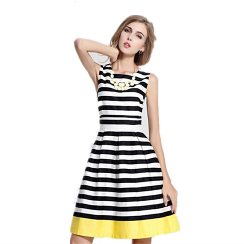 Model Sleeveless Women Black White Dress Vestido Dresses Summer Runway Dress