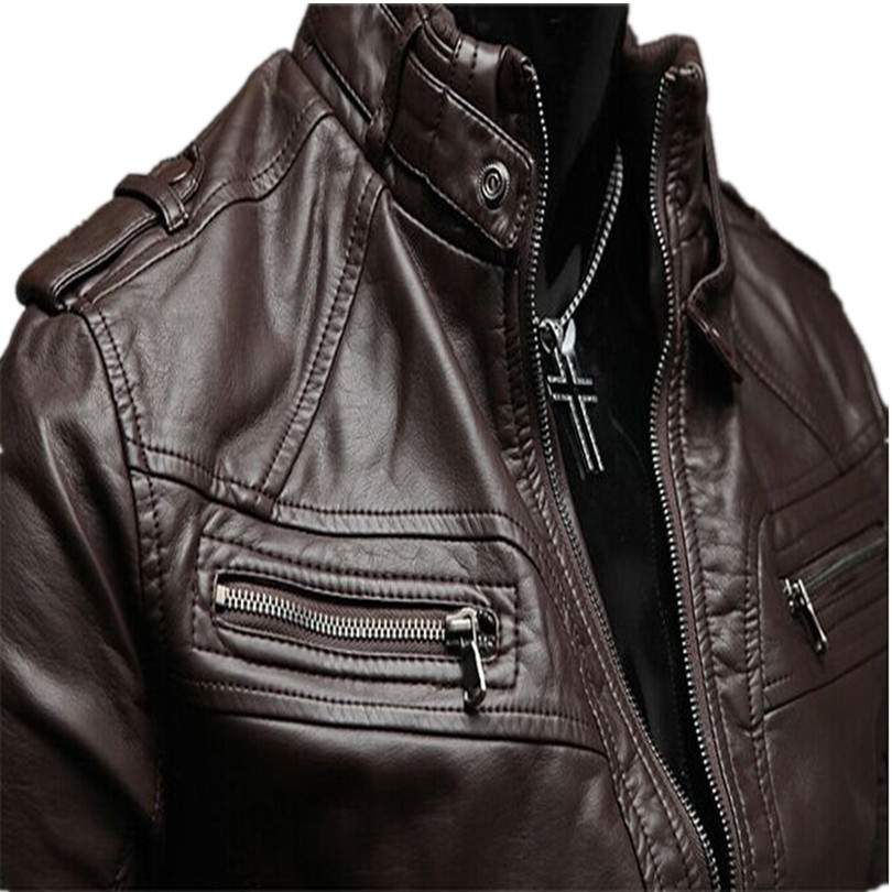 2015 New Men s imported High grade Fashion black faux leather motorcycle Jacket Stand Collar Mens