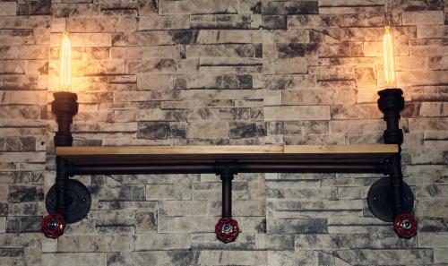 Fashion loft style industrial pipe wall lamp, Edison wrought iron shelf, send light source plank - HeMing lamp store. store