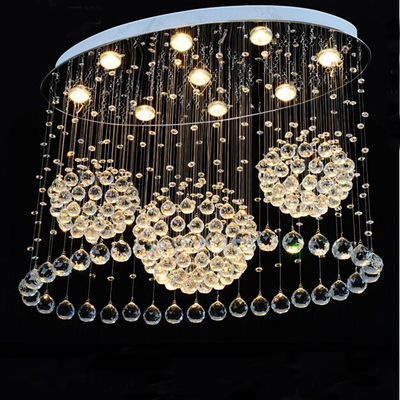 Oval pendant lights 3 big crystal ball lamps L31.4inch W15.74 H23.6inch suitable home decoration - F8 lighting manufacturer -chandelier,project ,LED lamp store