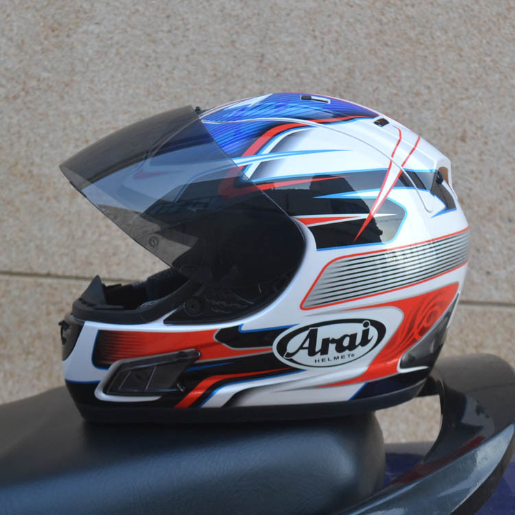 Arai blue and red special full face Arai helmet motorcycle helmet for free shipping(China (Mainland))