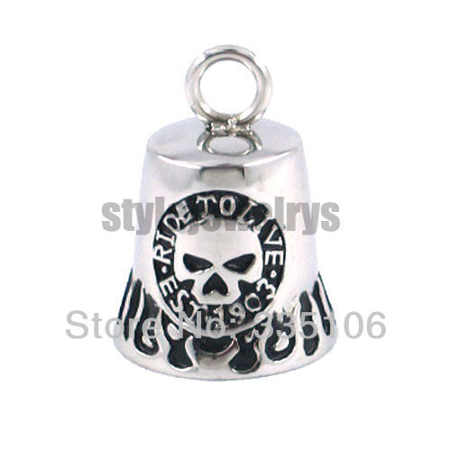 Free Shipping! Fashion Christmas Gift Motor Biker Bell Pendant Stainless Steel Jewelry Skull Bell Pendant SJP330078A(China (Mainland))