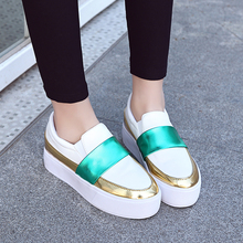 Women Fashion Mixed Colors Platform Wedge Shoes Lady Low Top Round Toe Spring Hidden Heels Girl Height Increasing Casual Shoes
