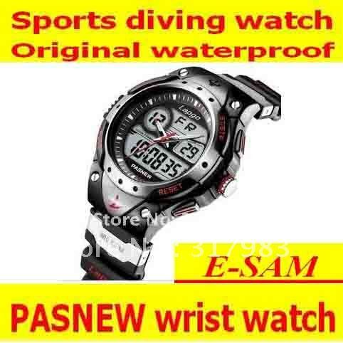 Original luxury rubber men and women PASNEW brand waterproof dive sports wrist watch,Dual time watches with quartz movement