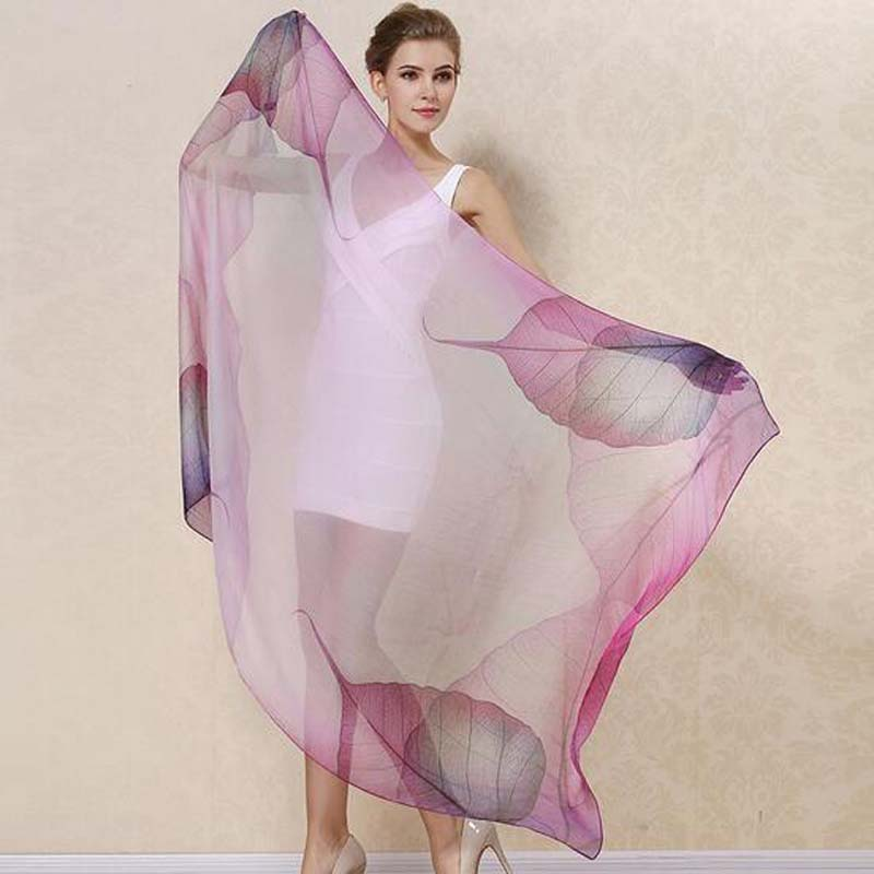 New Arrival Chiffon Silk Scarf 2017 New Design Female Accessories 100% Pure Silk Thin Ladies Daisy Long Scarves Tippet 180*110cm(China (Mainland))