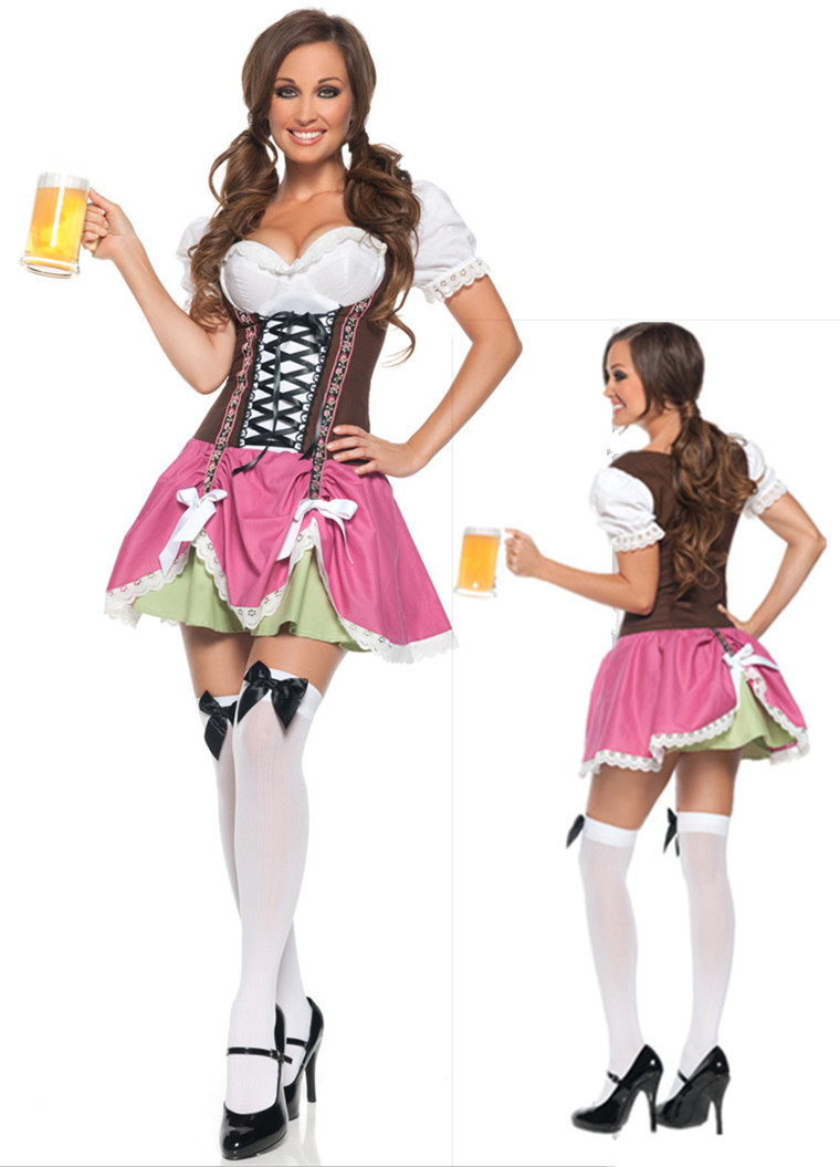 Woman's Halloween Masquerade Beer Girl Oktoberfest Cosplay Costumes Restaurant and Bar Maid Role Play Sexy Disfraces H1572911(China (Mainland))
