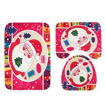 2018 hot zestaw wesołych świąt dekoracje dla domu Santa cokole dywan + pokrywa pokrywkę na papier toaletowy + mata do kąpieli Xmas decor dywan maty podłogowe(China)