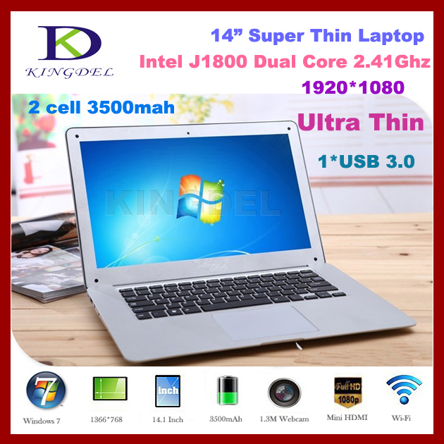 From kingdel buy cheap laptops in china, Intel Celeron J1800 Dual Core 2.41Ghz, 4GB RAM+640GB HDD, 1920*1080, USB 3.0, Windows 7(China (Mainland))