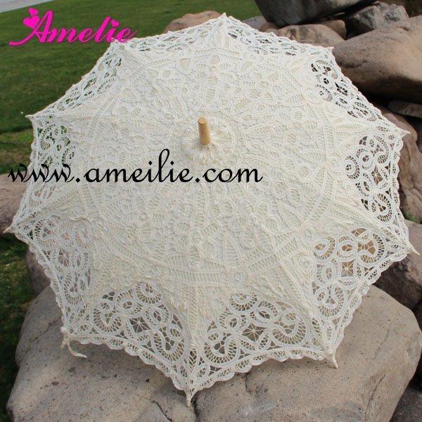 Full Batten Lace Parasol Umbrella Wedding Free shiping
