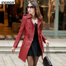 INGAGA 2016 Autumn Women Long Coat Soft Faux Leather Jacket Zipper Tie-waist Double Breasted with Pockets Plus Size Outerwear(China (Mainland))