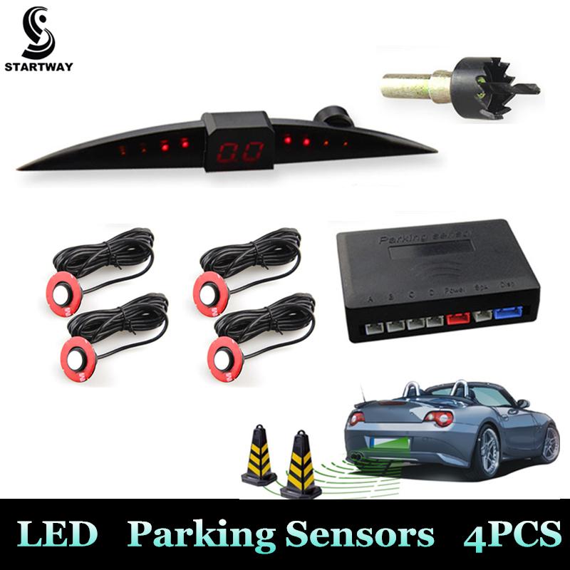 New Design Car LED Parking Sensor Kit Monitor Auto Reverse Backup Radar System Detector 13mm/22mm Sensor Backlight Display(China (Mainland))