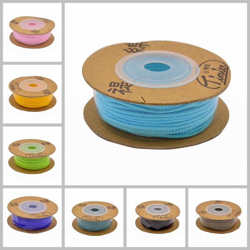 Round Cotton String Threads Cords, Black White Red Yellow Blue Green Purple, 2mm; 13yards/roll(China (Mainland))