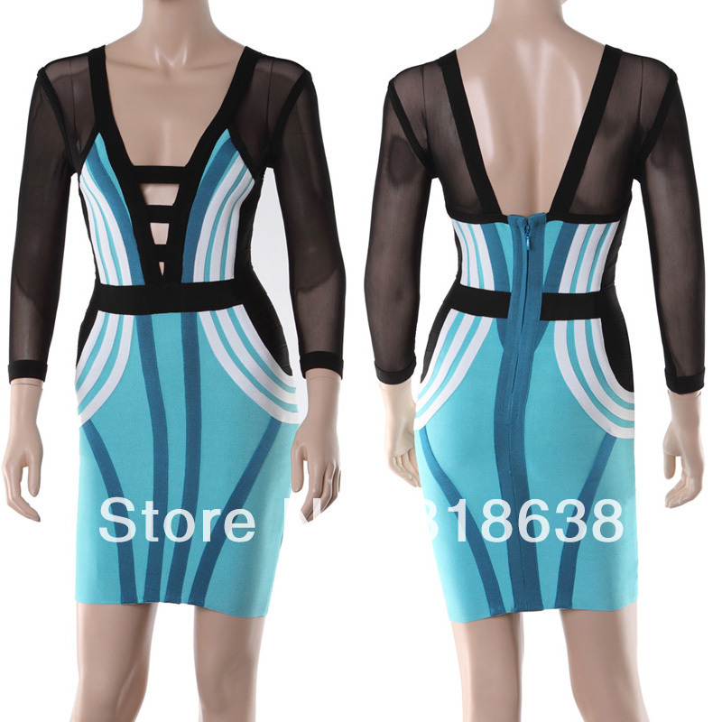free shipping best quality black and blue mid sleeve v neck cut out bandage dresses 2014 party dress(China (Mainland))