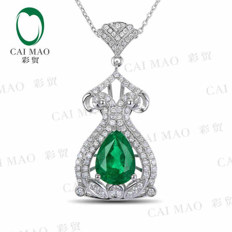 CaiMao Natural 1.06 ct Emerald 18KT/750 White Gold 0.58 ct Full Cut Diamond Jewelry Pendant Gemstone<br><br>Aliexpress