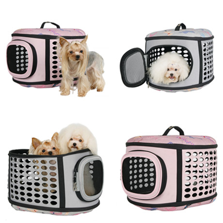 Free shipping Travel Bag Folding EVA Small Pets Carrier Cage Collapsible Crate Tote Handbag portable(China (Mainland))