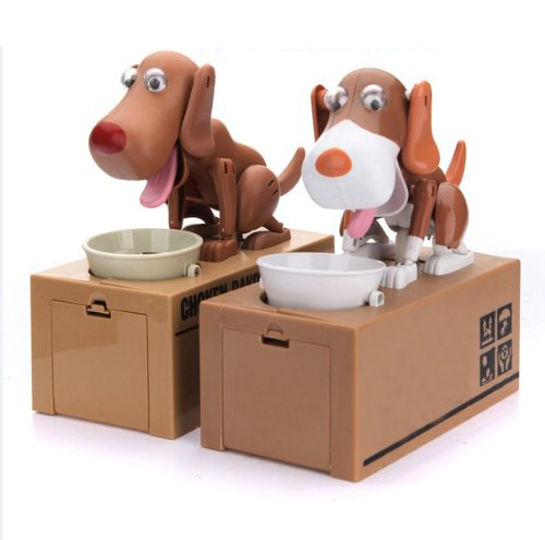 WSFS Hot Sale Robotic Dog Puppy Hungry Hound Bank Coin Eating Save Money Box Collection Gift(China (Mainland))