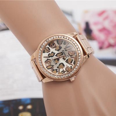 Women Brand Luxury Watch Leopard Women Clock 2015 Luxury Diamond Watch Women Brand Gold Rose Watch Reloj Mujer Dorado(China (Mainland))