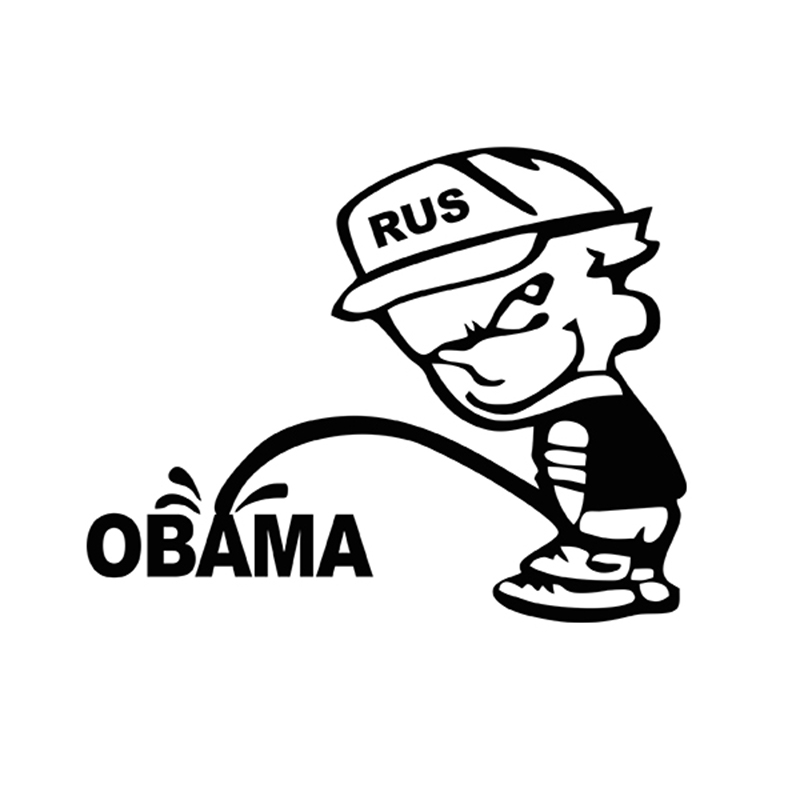 Funny RUS Bad Boy Calvin Pee Piss ON ANTI OBAMA JDM Vinyl Decal Label Car Sticker For Truck SUV