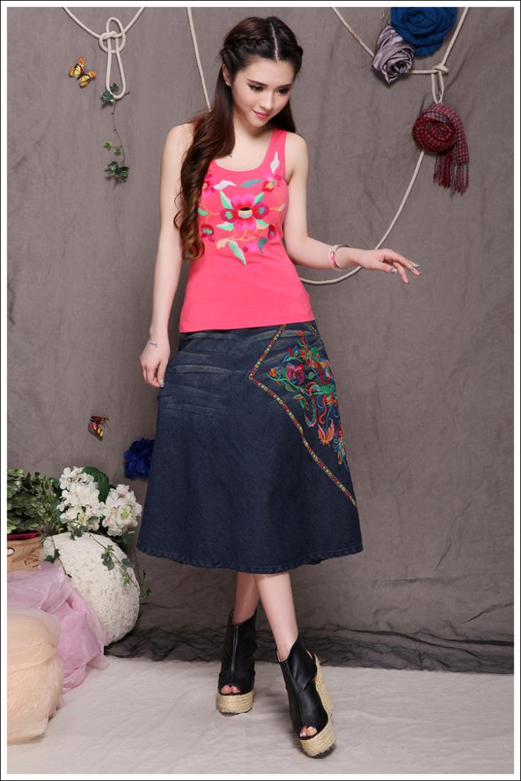 2015 summer women skirt new fashion ethnic style embroidery jeans long skirt LI106Одежда и ак�е��уары<br><br><br>Aliexpress