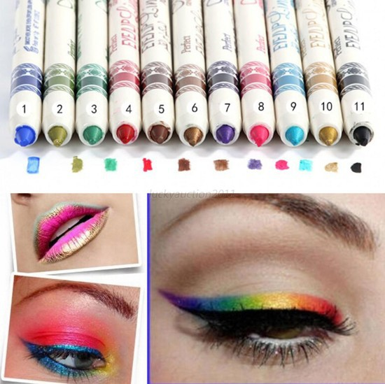 12 Color Glitter Lip liner Eye Shadow Pencil Pen Cosmetic Makeup Set(China (Mainland))