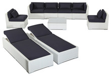 2015 Patio Furniture 9 Piece Sofa Set and Chaise Lounge, White Wicker/Navy(China (Mainland))