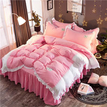 Simple Solid bedding sets good quality white ruffle bedspread elegant pillowcase bed skirt duvet cover pink princess bedclothes(China)