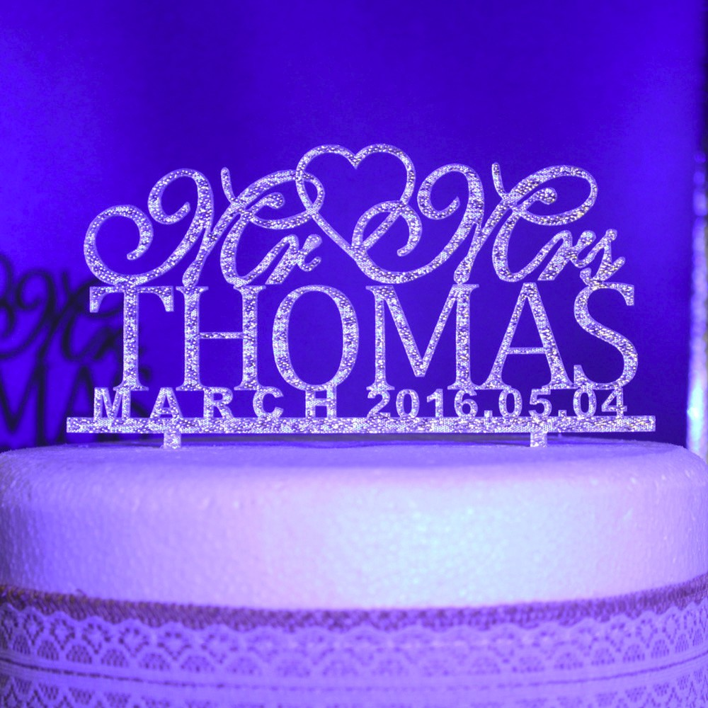 Personalized Wedding Cake Toppers, Custom name date Mr Mrs Acrylic gold silver glitter Wedding Party Decoration cake Accessory