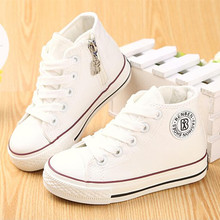 Kids shoes for girl children canvas shoes boys sneakers 2017 Spring autumn girls shoes White High Solid fashion Children shoes(China (Mainland))