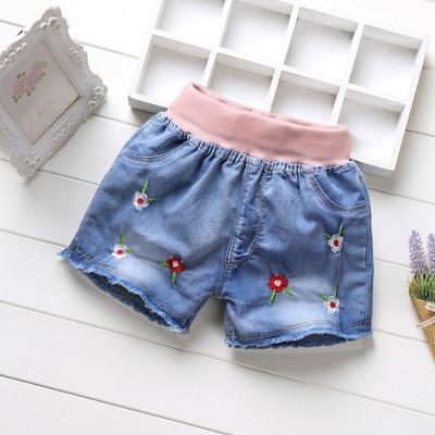 Retail!5-15 yrs,Children's Denim Shorts,baby girls summer fashion cartoon cotton jean short pants,baby girls clothes