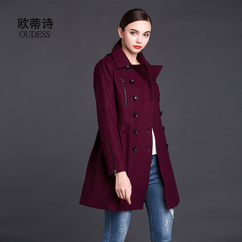 England top quality wool coat female double breasted zip coat trench uk ladies purple slim fit woolen jacket red outwear as gift(China (Mainland))