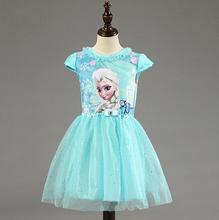 2016 New Elsa Anna Dress Girls Dress Cosplay Party Dresses Princess Children Baby Kids Baby Vestidos toddler Dresses Character