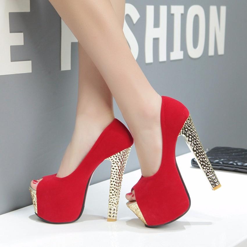 2016 New Plus Big Size 33-44 Black Red Peep Toe Fashion Sexy High Heel Platform Spring Autumn Women Pumps D1103
