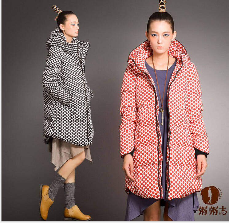 Фотография HOT SALE~Clothes for pregnant women in winter  thickening hooded Down jacket for pregnancy dot casual large size materntiy coat