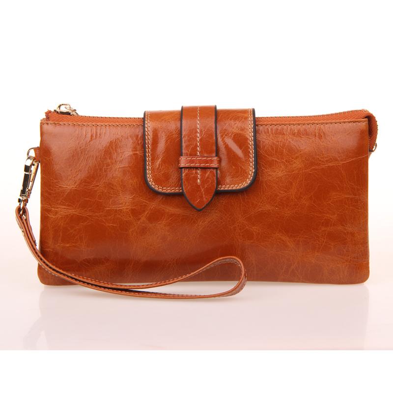 2015 Oil Wax Real Leather Women Wallets Clutches Chain Handbags Organizer Luxury Big Purse Brand Design Cateria Feminas(China (Mainland))