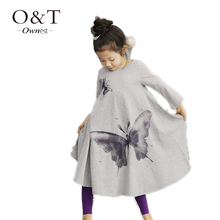 z6 Autumn Summer children Casual Baby Girl Dresses Full Butterfly Print Long Sleeve Kid Clothes Beach Dresses toddler clothing