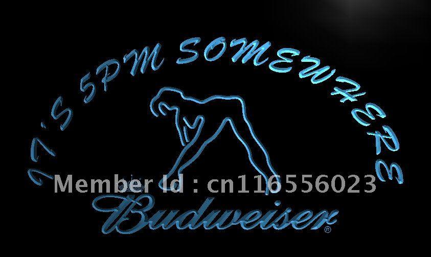 LA461- It's 5 pm Somewhere Budweiser Dancer Neon Sign home decor crafts(China (Mainland))