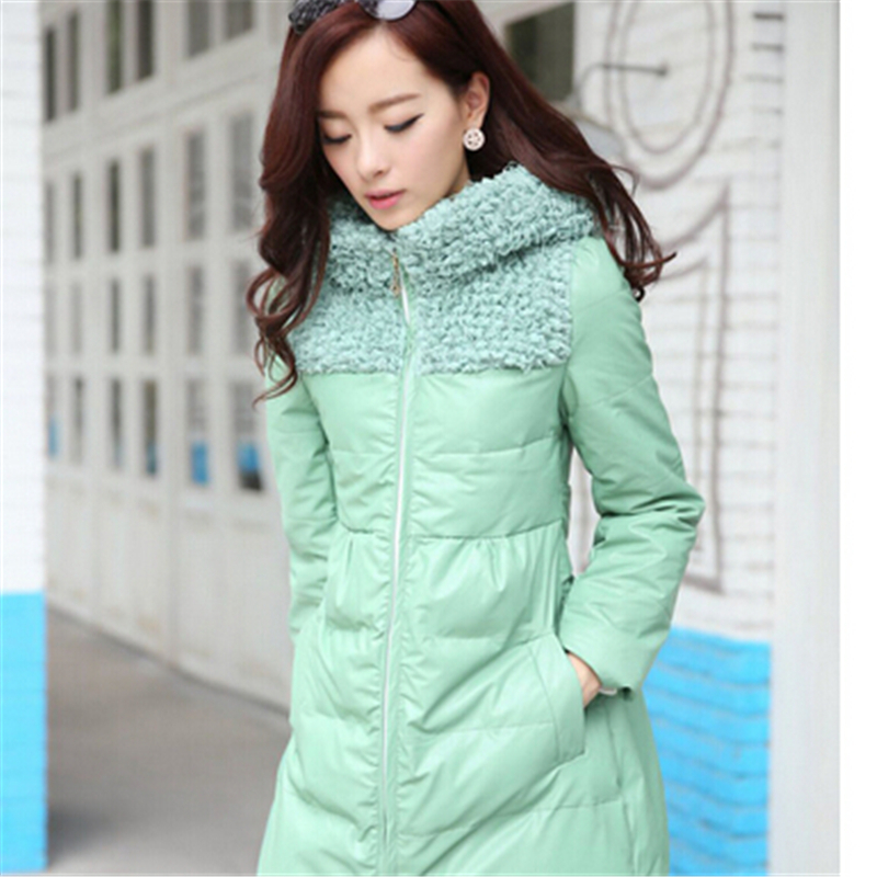 Elegant women fashion Long Leather Coat slim fit PU Jackets 2015 Winter Women Zipper hooded down cotton-padded coat LP0064Одежда и ак�е��уары<br><br><br>Aliexpress