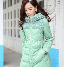 Elegant women fashion Long Leather Coat slim fit PU Jackets 2015 Winter Women Zipper hooded down cotton-padded coat LP0064(China (Mainland))