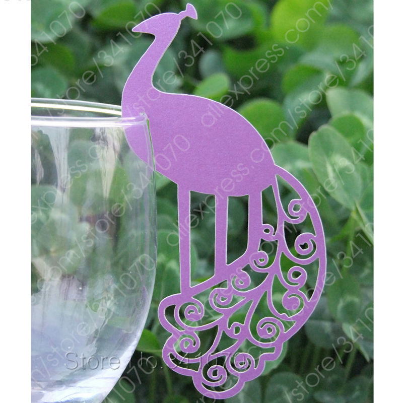 Laser Cut Paper Peacock Place Cards/ Cup Cards / Wine Glass Cards/ Escort Cards Wedding Favors Party Decor,FREE SHIPPING - KQ012(China (Mainland))