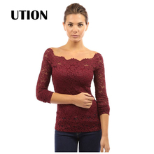 Fashion Blusas Sexy Women Blouses Hollow Out Shoulder Lace Crochet Shirts Long Sleeve Slim Casual Tops Plus Size 4XL TP0006