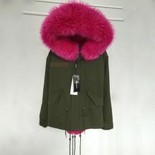 2015 neue Frauen Winter Armee-grün Jacke Mäntel Dicke Parkas Plus Größe Echten Waschbären Pelzkragen Mit Kapuze Outwear 5 Tage lieferzeit(China (Mainland))