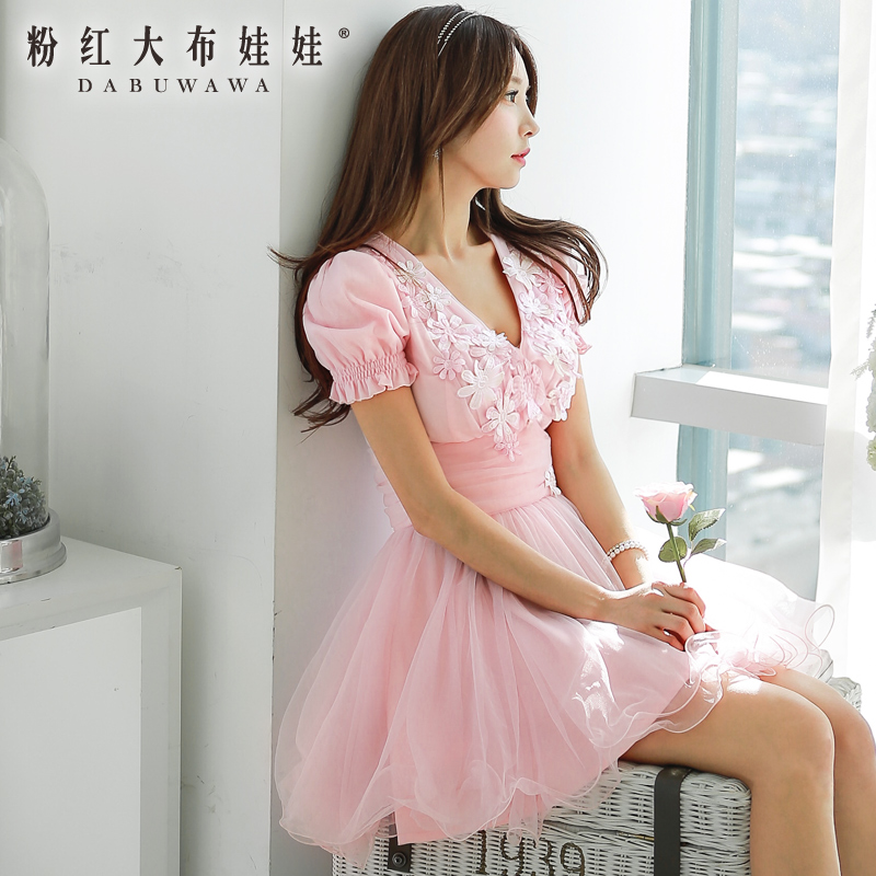Original Women Clothing Brand 2015 New DABUWAWA Girl Pink mosaic stereo flower fluffy Summer Dress Plus Size Vestido(China (Mainland))