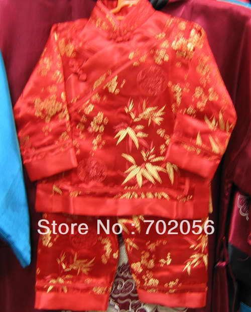 Boys girls Kungfu suits Martial Art Chinese,Tai Suit,silk uniform tracksuits Tops Pants 20sets/lot #2526<br><br>Aliexpress