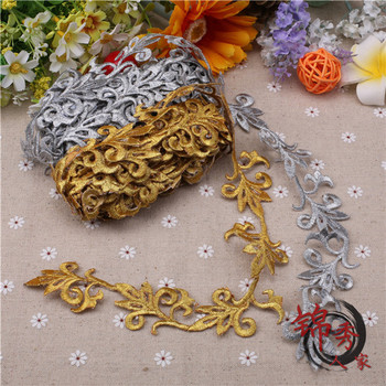 4 Meter/Lot Cos costume embroidery lace trim gold silver 3.5cm stage performance clothes diy applique patch fabric accessories