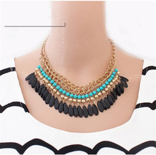 2015 Statement  Necklace Bohemian Tassels Drop Vintage Gold Big Collier Chain Neon Bib Necklaces Fashion Jewelry For Woman