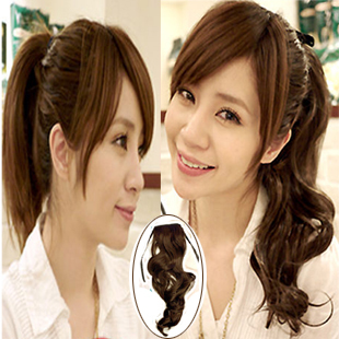 Simulation hair tied pony tail wig short paragraph pear quality Iris real shot long curly hair wig fake pony tail(China (Mainland))