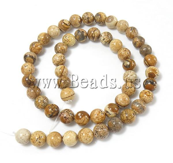 Free shipping!!!Picture Jasper Beads,Lucky Jewelry, Round, natural, 12mm, Hole:Approx 1.5mm, Length:Approx 15.5 Inch