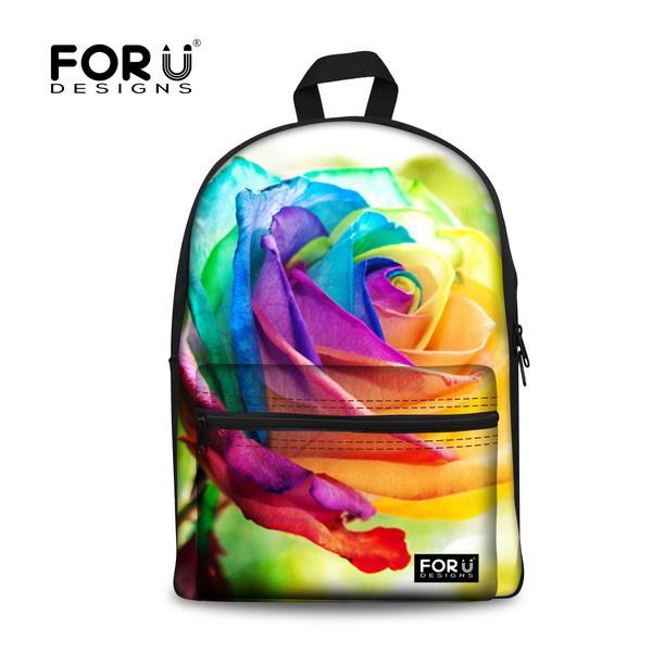 Новый стильный 3d цветочный печать школа сумки для девочек дизайнер подросток